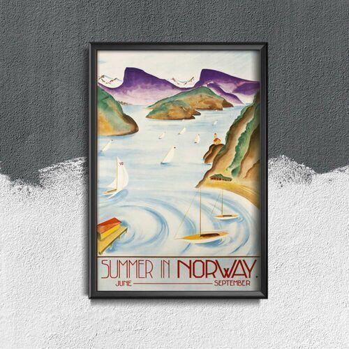 Plakat w stylu vintage Plakat w stylu vintage Norwegia Skandynawska letnia podróż