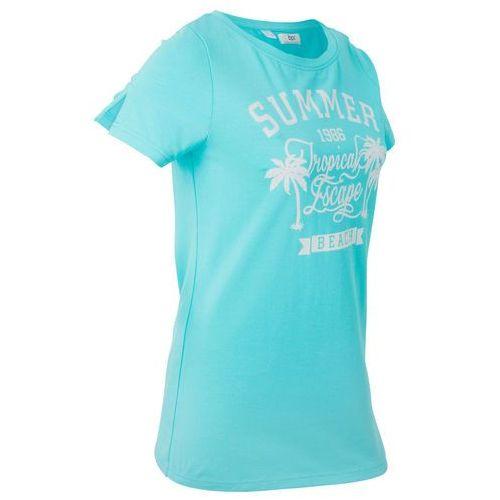 T-shirt z szerokim okrągłym dekoltem, krótki rękaw bonprix morski z nadrukiem, kolor niebieski