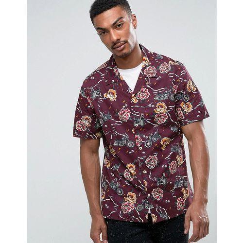 Mango Man Regular Fit Short Sleeve Shirt In Purple Floral Print - Purple, 1 rozmiar