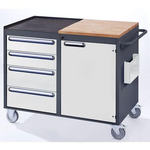 Rau Stół warsztatowy, ruchomy,4 szuflady, 1 drzwi, blat roboczy z drewna / metalu