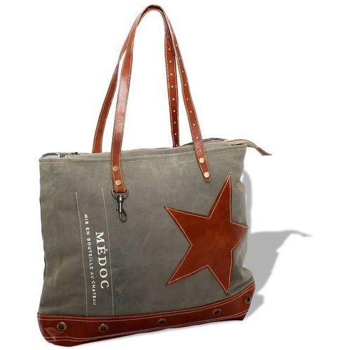 Vidaxl torba na zakupy płócienno-skórzana, szara (8718475510291)