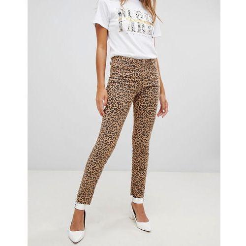 New Look Hallie Leopard Print Jeans - Brown, kolor brązowy