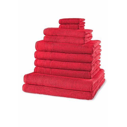 Komplet ręczników (10 części) ciemnoczerwony marki Bonprix