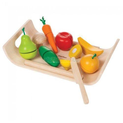 Drewniany zestaw do zabawy - warzywa i owoce na tacy, , plto-3416 marki Plan toys