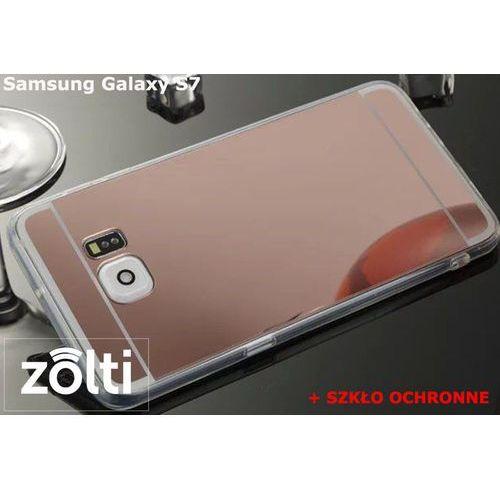 Zestaw | Slim Mirror Case Różowy + Szkło ochronne Perfect Glass | Etui dla Samsung Galaxy S7, kolor różowy