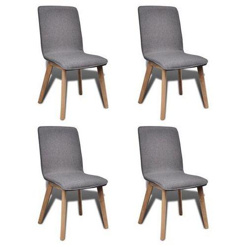 Krzesła jadalniane z dębową ramą, 4 szt, materiał, ciemnoszare, kolor szary