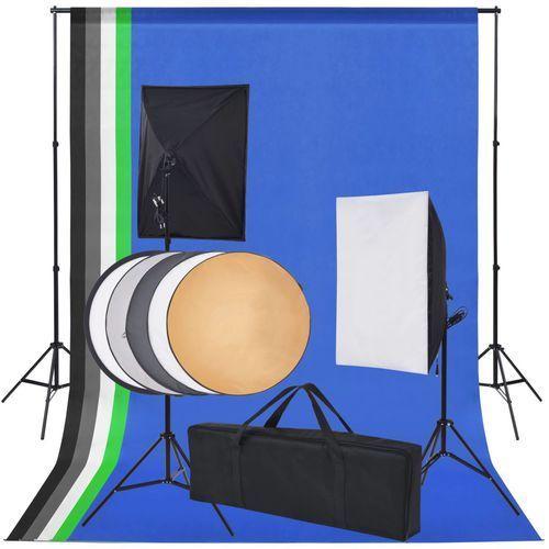 vidaXL Sprzęt do studia fotograficznego: tło 5 kolorów i 2 softboxy