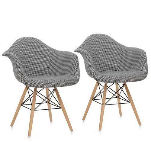 OneConcept Visconti krzesło kubełkowe 2 szt. tapicerowane siedzisko PP czarne (4260509687737)
