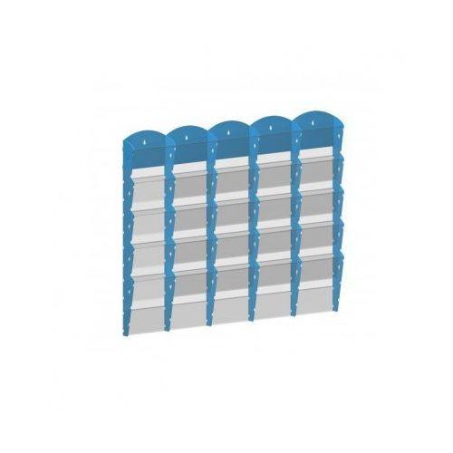 Plastikowy uchwyt ścienny na ulotki - 5x5 a4, niebieski marki B2b partner