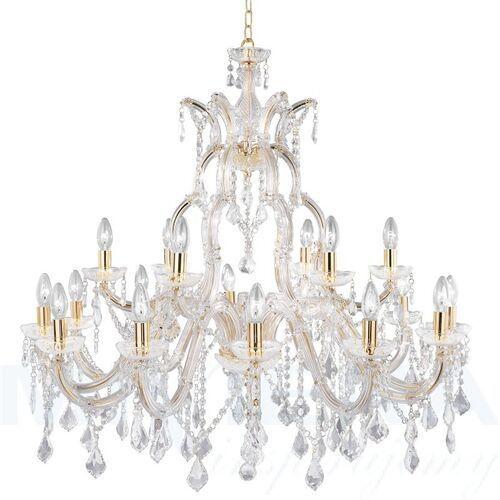 Marietherese lampa wisząca 18 złoty kryształ, kolor mosiądz,