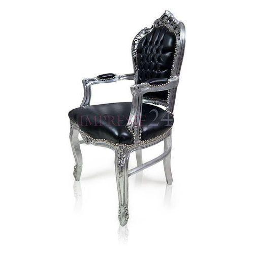 Stylowe krzesło Kair, srebrna rama, czarne obicie z ekologicznej skóry.