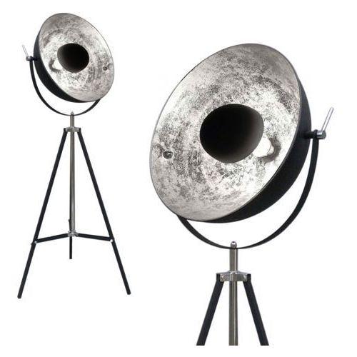 Stojąca lampa podłogowa antenne ts-090522f-bksi studyjna oprawa na trójnogu kopuła xirena laki metalowa czarna srebrna marki Zumaline