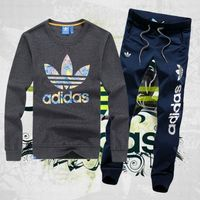 Dresy Adidas Bluza Ciemnoszara (kolorowe logo), spodnie Granatowe/białe PF1501-2, kolor niebieski