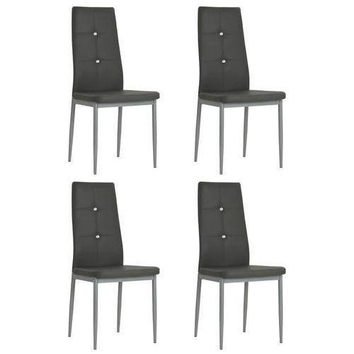 Krzesła ze sztucznej skóry, 4 szt., 43 x 43,5 x 96 cm, szare, kolor szary