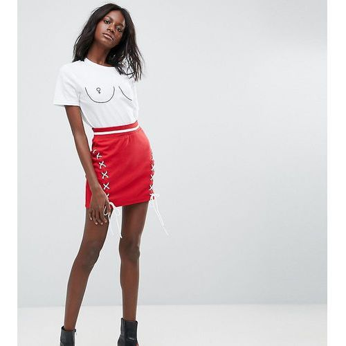 Missguided Lace Up Mini Skirt - Red