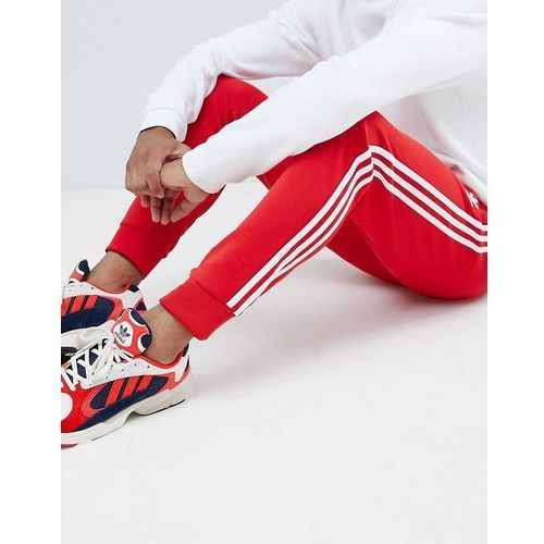 Adidas originals three stripe skinny joggers with cuffed hem in red dh5837 - red