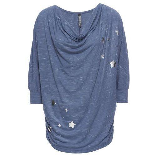 """Shirt z dekoltem """"wodą"""", z nadrukiem w gwiazdy bonprix indygo - jasnoszary melanż z nadrukiem, kolor niebieski"""