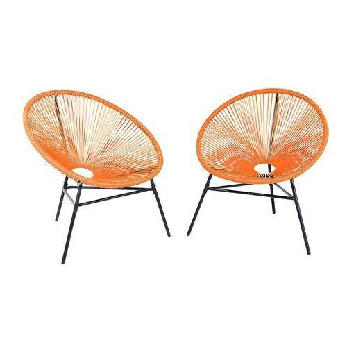 Beliani Zestaw 2 krzeseł ogrodowych pomarańczowe acapulco