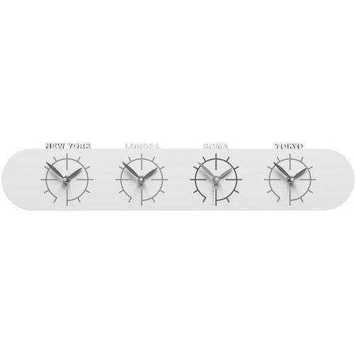 Zegar z czterema strefami czasowymi do biura singapore biały (12-007-1) marki Calleadesign