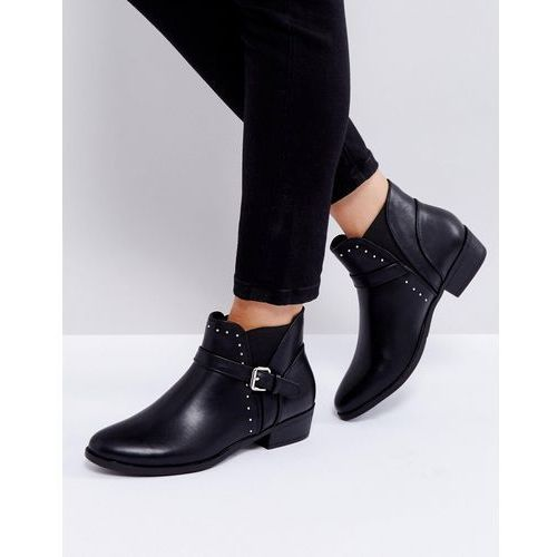 flat chelsea boot with buckle trim - black, Truffle collection