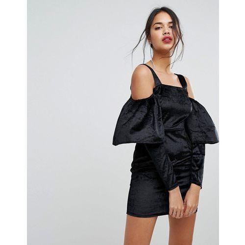 velvet puff sleeve dress - black marki Prettylittlething