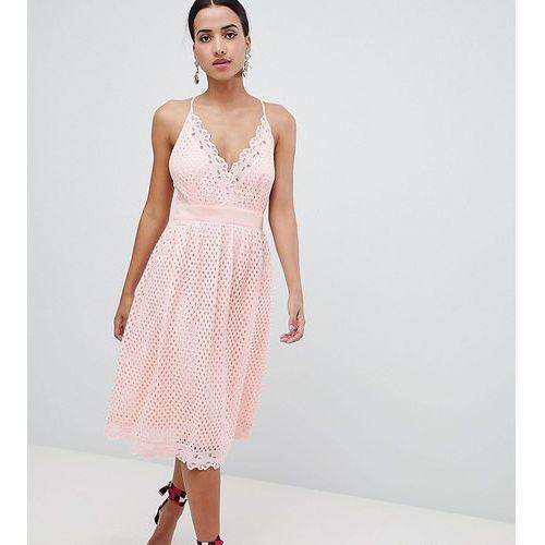 Boohoo cami lace midi dress - pink