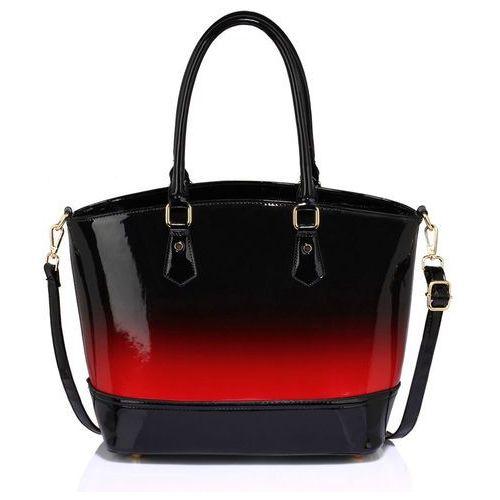 Wielka brytania Cieniowana lakierowana torebka damska czerwono-czarna - czarny ||czerwony