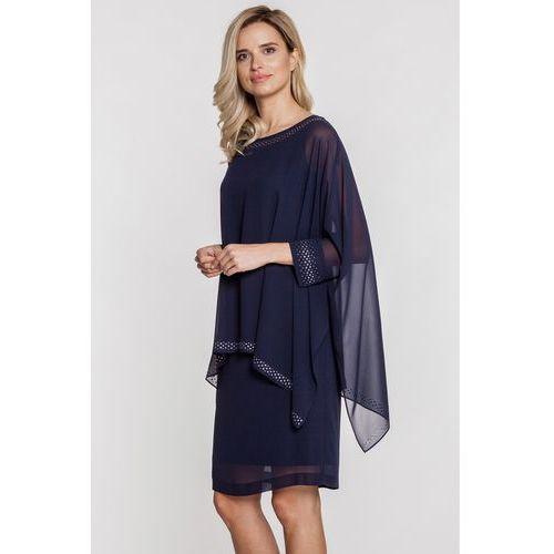 Czarna sukienka z szyfonową pelerynką - Vito Vergelis, kolor niebieski