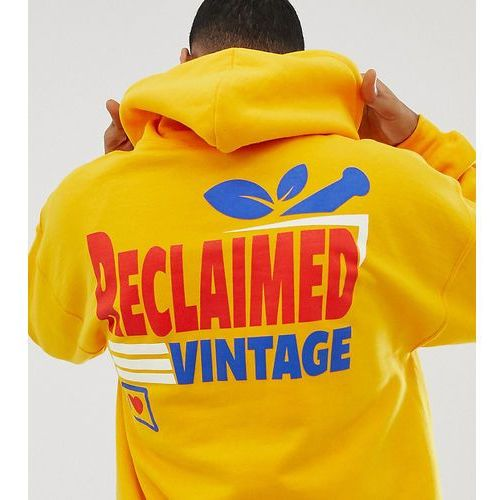Reclaimed Vintage inspired oversized hoodie with supermarket logo print - Yellow, kolor żółty