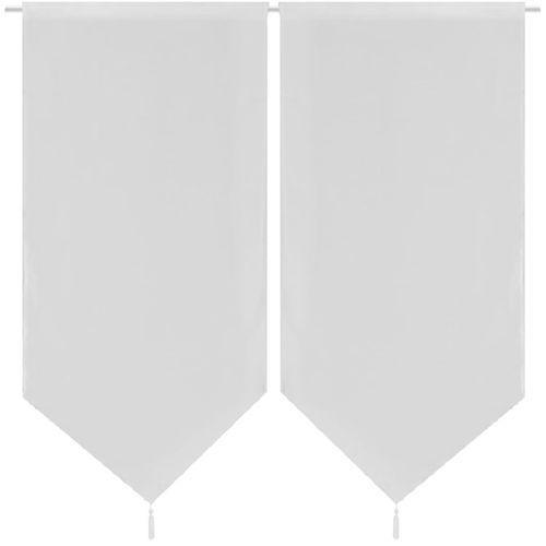 Vidaxl 2 białe płócienne zasłony/firany do kuchni 60 x 160 cm (8718475946465)