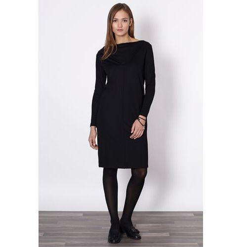 Czarna sukienka z dekoltem woda - Click Fashion