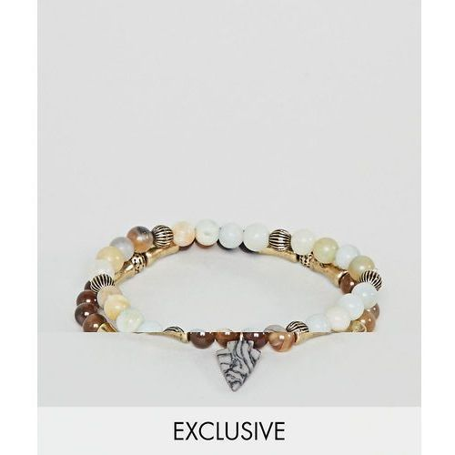 inspired beaded bracelet with semi precious stones in 2 pack exclusive to asos - multi marki Reclaimed vintage