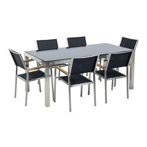 Stół szklany czarny - 180 cm - z 6 czarnymi krzesłami - GROSSETO (7105275838617)