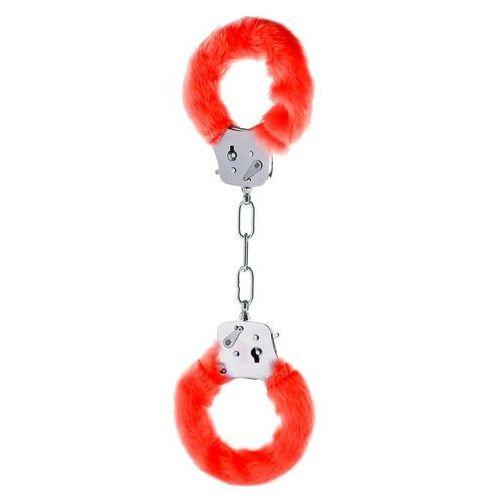 Solidne metalowe kajdanki czerwony plusz i kluczyki (8713221063397)