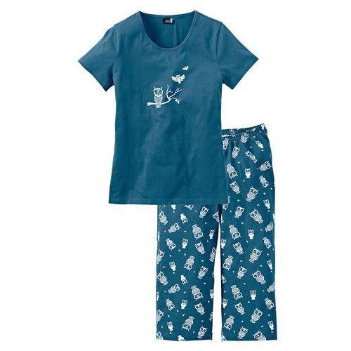 Bonprix Spodnie z gumką w talii. niebieskozielony - biały