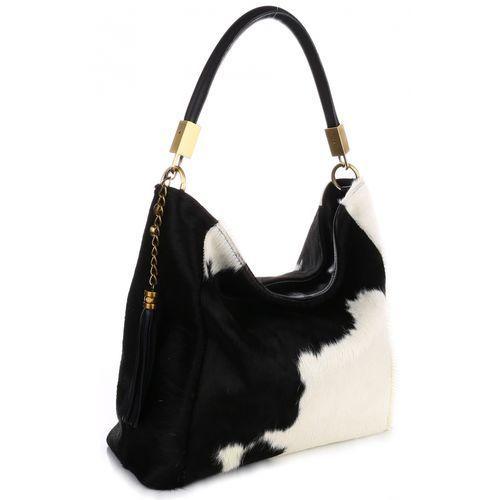 Unikatowa włoska torebka skórzana cała z naturalnego włosia biało czarna marki Genuine leather