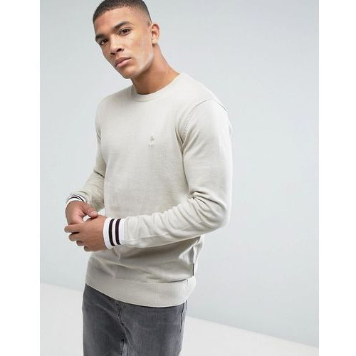 crew neck knitted jumper with contrast cuff - beige marki French connection