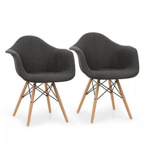 oneConcept Visconti krzesło kubełkowe zestaw 2 szt. tapicerowane siedzisko PP szare, kolor szary