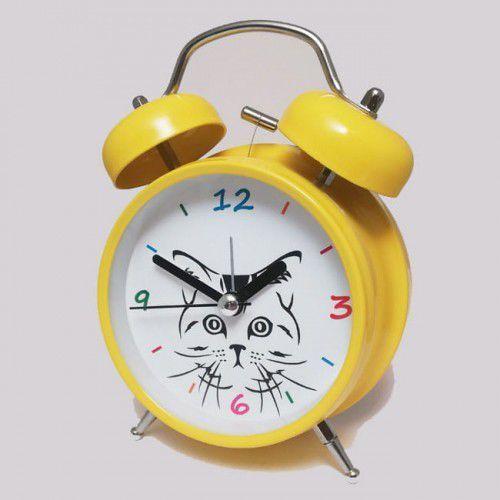 Super cichy budzik metalowy z dzwonkami #kot Y, ATB045YE