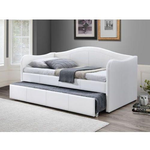 Vente-unique Kanapa mathilde z wysuwanym łóżkiem – 2 × 90 × 190 cm – skóra syntetyczna – kolor biały