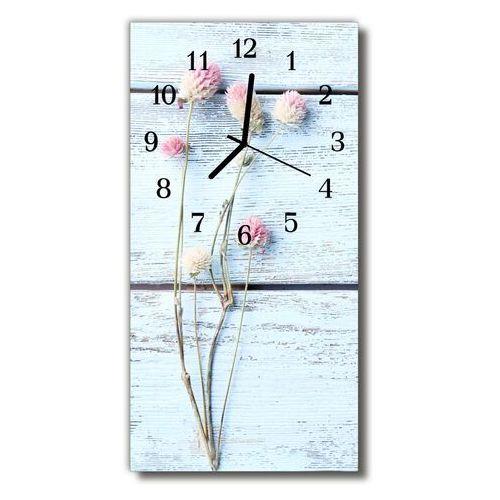 Zegar Szklany Pionowy Natura Koniczyna biały, kolor biały