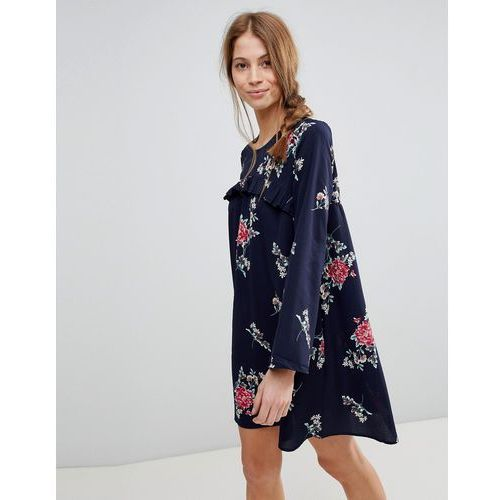 Qed london floral shift dress with frill - navy