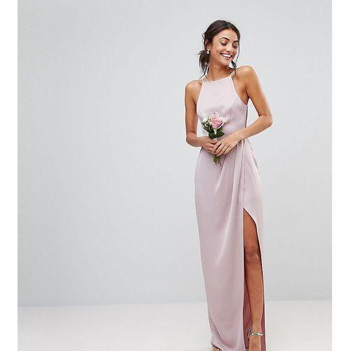 ASOS DESIGN Tall Bridesmaid drape front strappy back maxi dress - Pink, kolor różowy
