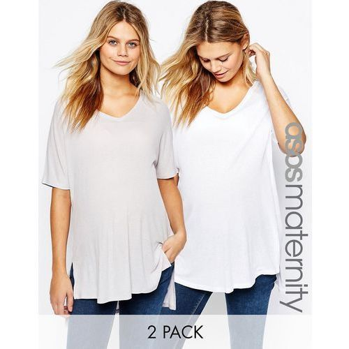 ASOS Maternity T-Shirt With V Neck In Oversized Slouchy Rib 2 Pack - Multi