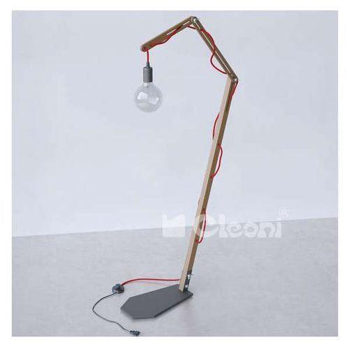 Stojąca LAMPA podłogowa SPIDER 1325S1/A/305/kolor Cleoni skandynawska OPRAWA do salonu drewno żarówka bulb loft (1000000449679)