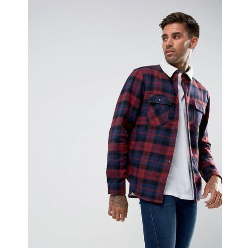 Another Influence Checked Overshirt with Borg Lining - Red, 1 rozmiar