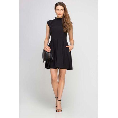 Czarna sukienka wizytowa na stójce z kontrafałdami, Lanti, 34-44