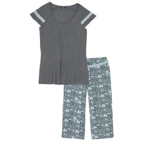 Piżama ze spodniami 3/4 bonprix pastelowy miętowy - dymny szary z nadrukiem
