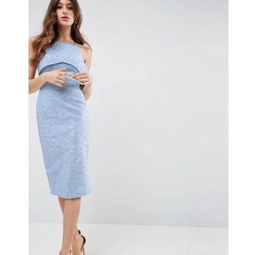 ASOS Lace One Shoulder Bardot Pencil Midi Dress - Blue