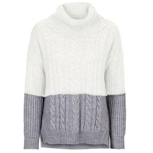 Sweter dzianinowy w warkocze szaro-biel wełny marki Bonprix